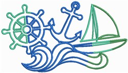 Rainbow Nautical embroidery design