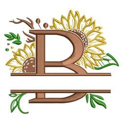 Sunflower Letter B Split embroidery design
