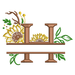 Sunflower Split Letter H embroidery design