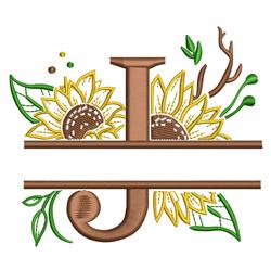 Sunflower Split Letter J embroidery design