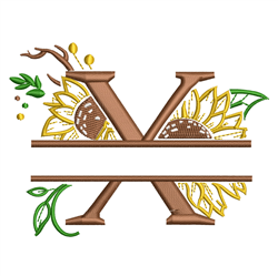 Sunflower Split Letter X embroidery design