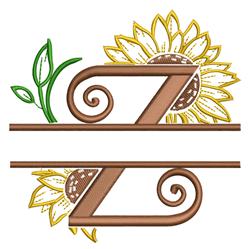Sunflower Split Letter Z embroidery design