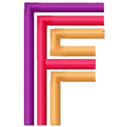 Retro Letter F embroidery design