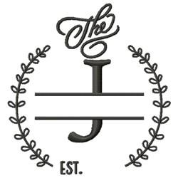 J Wedding Name Drop embroidery design