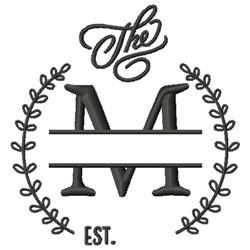 M Wedding Name Drop embroidery design