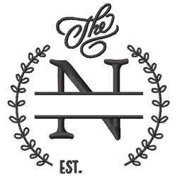 N Wedding Name Drop embroidery design
