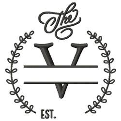 V Wedding Name Drop embroidery design