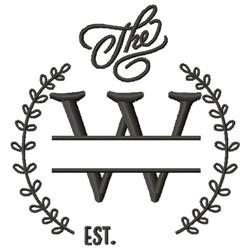 W Wedding Name Drop embroidery design