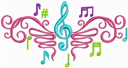 Music Notation embroidery design