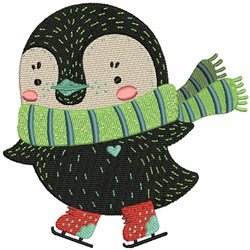 Ice Skate Penguin embroidery design