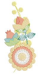 Rippled Garden Flower embroidery design