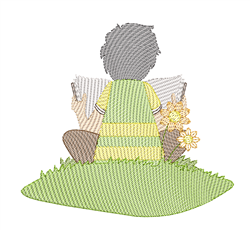 Rippled Boy Reading embroidery design