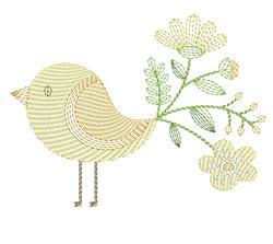 Flower Bird embroidery design