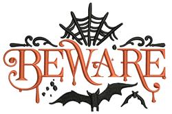 Beware Halloween embroidery design