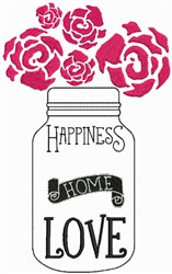 Happiness, Home, Love embroidery design