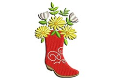 Cowgirl Red Boots with Flowers embroidery design