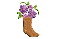 Cowgirl Brown Boots with Floral Patterns embroidery design