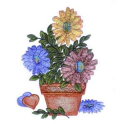 Country Flowerpot embroidery design