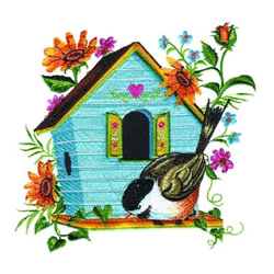 Floral Birdhouse embroidery design