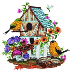 Floral Birds & House embroidery design