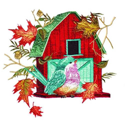 Barn Birdhouse & Leaves embroidery design