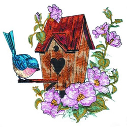 Summer Flowers & Birdhouse embroidery design