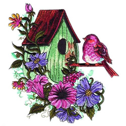 Flowers & Birdhouse embroidery design