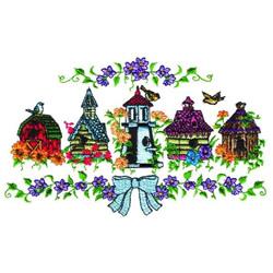 Birdhouses Border embroidery design