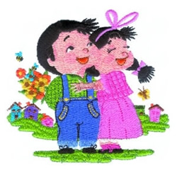 Boy & Girl Hugging embroidery design