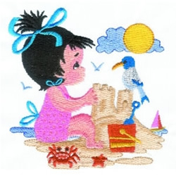 Girl Building Sandcastle embroidery design