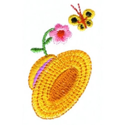 Floral Hat & Butterfly embroidery design