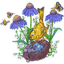 Bird Nest & Flowers embroidery design