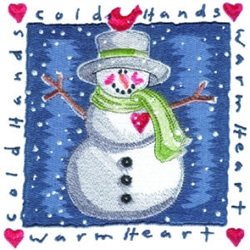 Warm Heart Snowman embroidery design