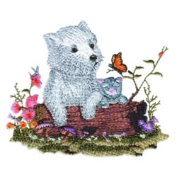 Puppy & Butterfly embroidery design
