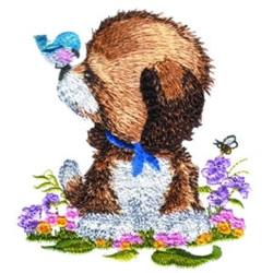Puppy & Bird embroidery design