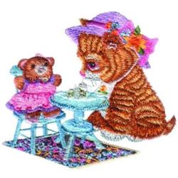 Kitten Tea Party embroidery design