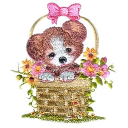 Puppy in Basket embroidery design