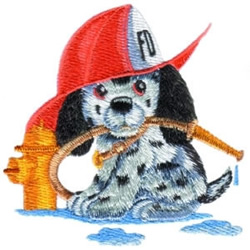 Fireman Puppy embroidery design