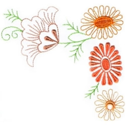 Fall Flower Corner embroidery design