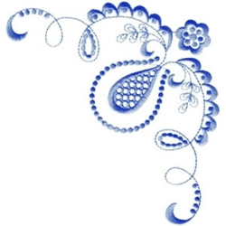 Blue Lace Corner embroidery design