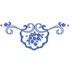 Blue Floral Border embroidery design