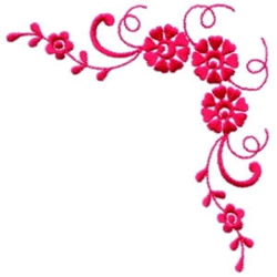 Red Floral Corner embroidery design