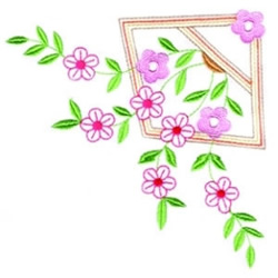 Asian Floral Corner embroidery design