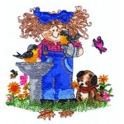 Birdbath Girl embroidery design
