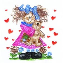 Love Teddy Girl embroidery design