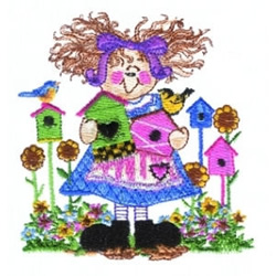 Birdhouse Girl embroidery design