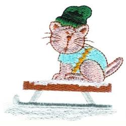 Sleding Cat embroidery design