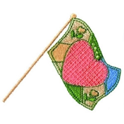 Heart Flag embroidery design