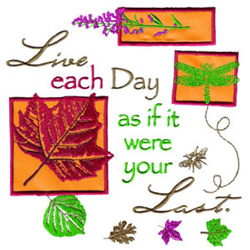 Live Each Day embroidery design