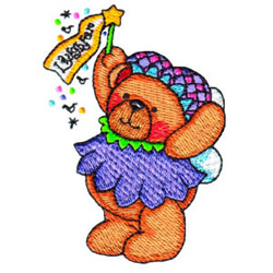 Fairy Bear Laughter embroidery design